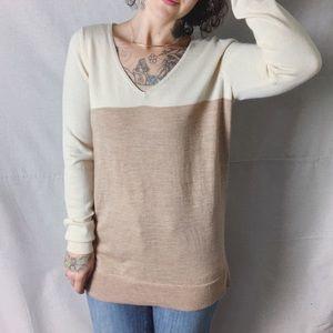 NWOT ANN TAYLOR Colorblock Merino V-Neck Sweater